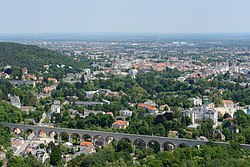 Panorama of Baden with the aqueduct in the foreground