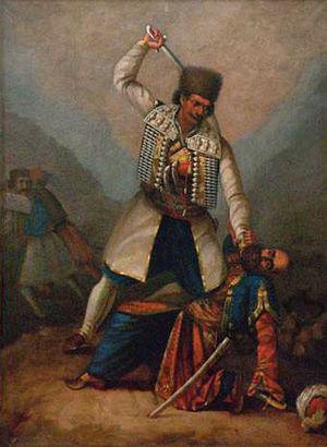 Bajo Pivljanin - Bajo Pivljanin kills a Turk (1878), by Serbian painter Aksentije Marodić (1838–1909)