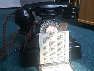 Telephony in Greater Manchester - Bakelite 232L, Pyramid' Telephone with Manchester Dailling Codes Drawer Card