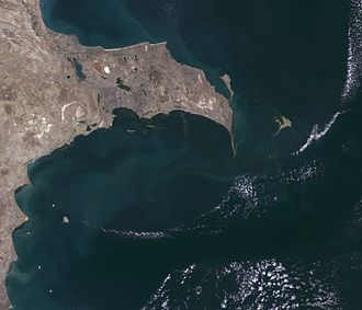 Baku Archipelago - LandSat satellite image of Greater Baku showing the islands