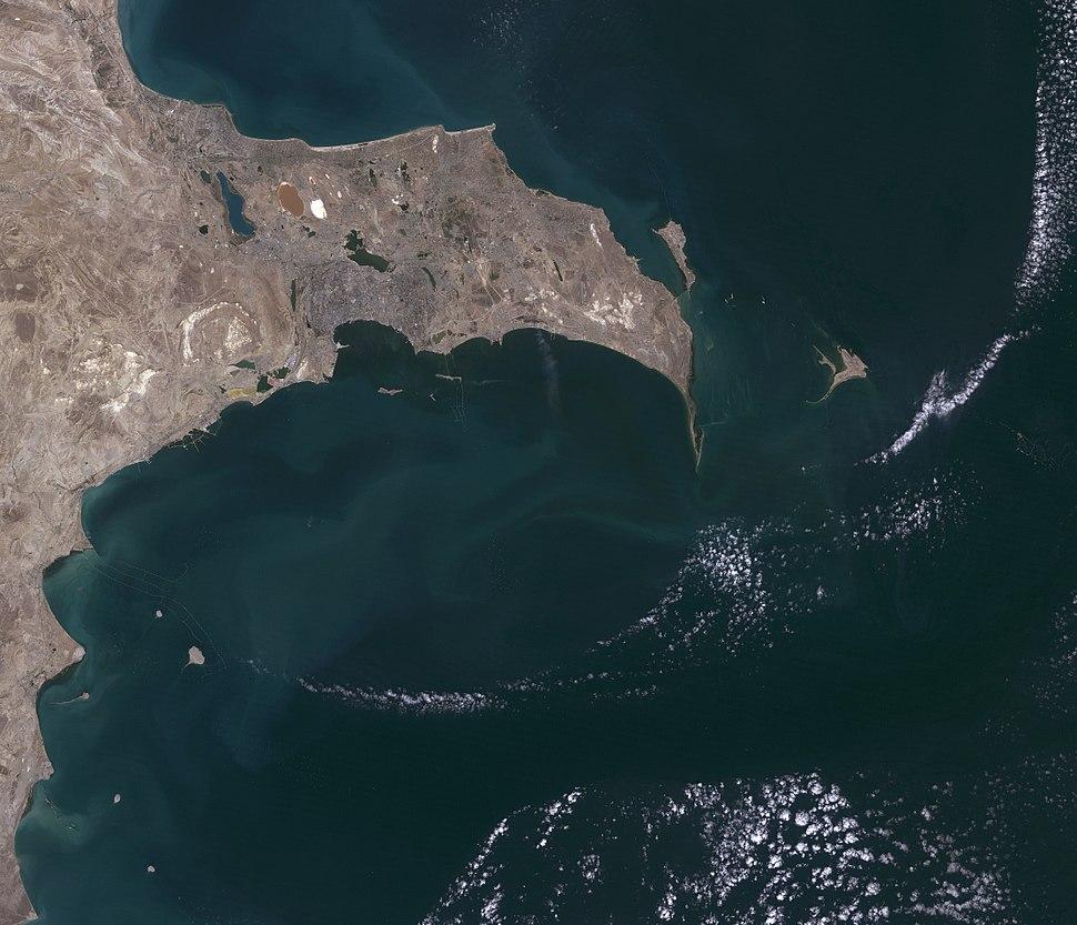 Baku, Azerbaijan, satellite image, LandSat-5, 2010-09-06