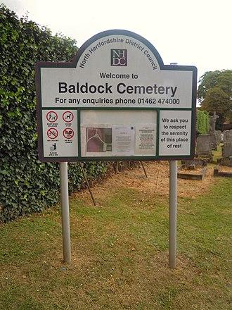 Baldock Cemetery - Sign at Baldock Cemetery