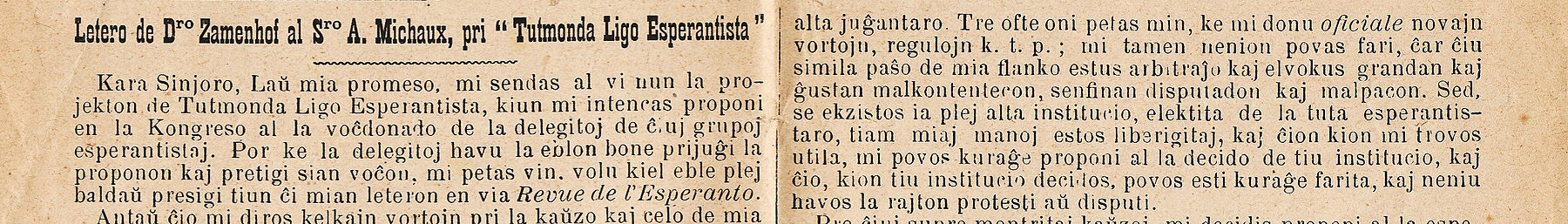 Excerpt from a Esperanto magazine from 1905 written by L.L. Zamenhof (Esperanto's inventor)
