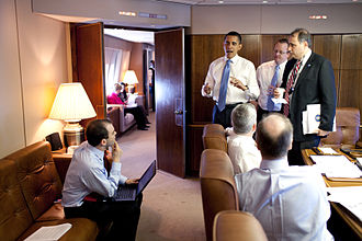 President Barack Obama meets with staff mid-flight aboard Air Force One, in the conference room, April 3, 2009. Barack Obama meets his staff in Air Force One Conference Room.jpg