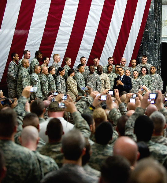 Barack Obama speaks to US troops at Camp Victory 4-7-09