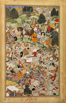 Basawan. Battle of rival ascetics. Akbarnama, ca. 1590, V&A Museum.jpg