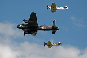 Battle of Britain Memorial Flight - A typical formation: bottom - Hawker Hurricane, middle - Avro Lancaster and top - Supermarine Spitfire