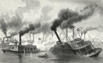 First Battle of Memphis - Battle of the rams. Ward, A. R., artist