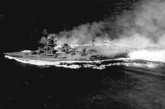 Ise-class battleship - Ise photographed by American aircraft during the Battle of Cape Engaño