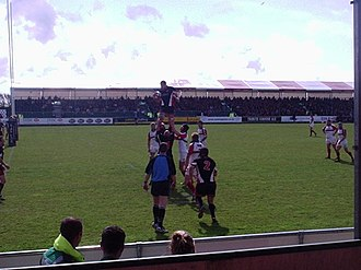 Cornish Pirates - Joe Beardshaw wins line-out ball for the Pirates against Plymouth Albion