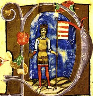 Árpád stripes -  Béla III in Chronicon Pictum