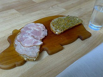 Butterbrot - Butterbrot with ham slices and bruschetta