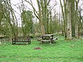 Bench and picnic table beside Hollow Lane - geograph.org.uk - 1780043.jpg