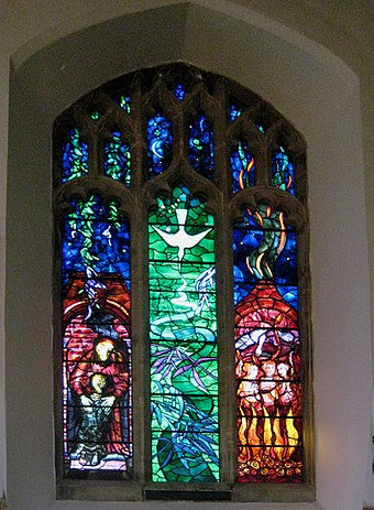 John Piper's Benjamin Britten memorial window in the Church of St Peter and St Paul, Aldeburgh Benjamin Britten memorial window ... - geograph.org.uk - 1131630.jpg