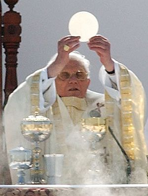 Catholic theology - Pope Benedict XVI celebrates the Eucharist at the canonization of Frei Galvão in São Paulo, Brazil on 11 May 2007