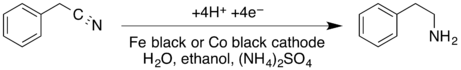 Benzyl cyanide electrolytic reduction.png