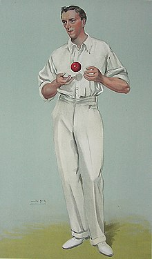 A caricature of a cricketer with a ball in his hand