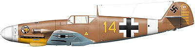A fighter aircraft, shown in profile, viewed from the left. The aircraft is brown, with a white nose. Decorations include a yellow 14, white lines, black and white crosses on the body and on bottom of the wing, and a black swastika on the tail; the rudder bears a white 100 in a wreath and 52small vertical black lines arranged in five blocks of varying length.