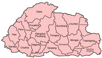 Operation All Clear - A map of Bhutan.
