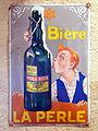 Bière La Perle , enamel advertising sign at the Musée Européen de la Bière.JPG