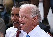 Biden and Obama in Springfield, Illinois after Biden's formal introduction as the running mate