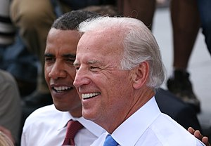 Barack Obama presidential campaign, 2008 - Joe Biden and Barack Obama after the presentation of Biden as the vice presidential running mate in Springfield, Illinois