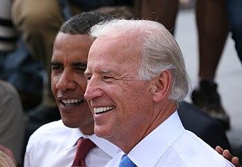 Joe Biden und Barack Obama in Springfield, Ill...