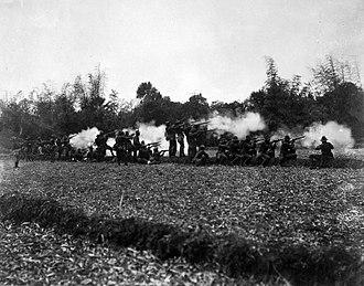 Balagtas, Bulacan - American infantry firing at Filipino insurgents at Balagtas, 1899.