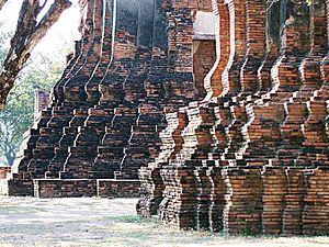 Brickwork - Twelfth-century temple brickwork, Ayutthaya, Thailand