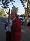 Bishop William Weigand prepares to enter St. Joseph Church in Sacramento, CA for a Confirmation Mass.JPG