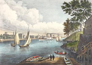 """86th Street (Manhattan) - """"Blackwells Island, East River, from Eighty Sixth Street"""", Currier & Ives, 1862: the villa overlooking the river had belonged to John Jacob Astor"""