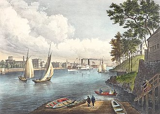 "86th Street (Manhattan) - ""Blackwells Island, East River, from Eighty Sixth Street"", Currier & Ives, 1862: the villa overlooking the river had belonged to John Jacob Astor"