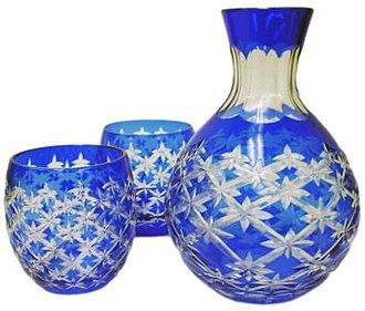 Sake set - Image: Blue twinkle cut sake set