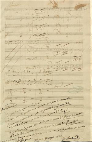 Giuseppe Balducci - Balducci's autograph score for Boabdil, re di Granata (page 1)