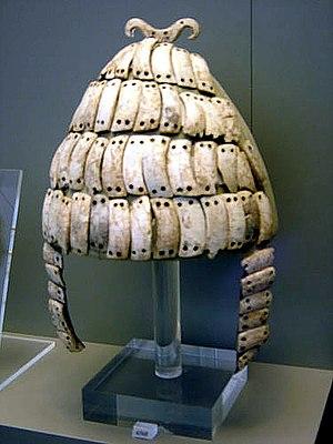 Boar's tusk helmet - Mycenaean Greek boar tusk helmet from Mycenae, 14th century BC. On display at the National Archaeological Museum, Athens.