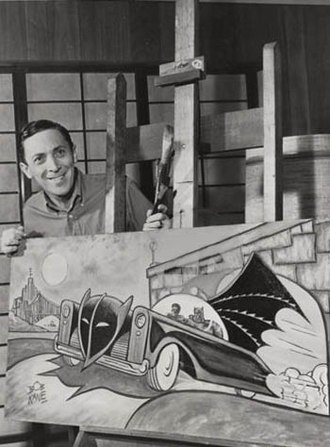 Bob Kane - Kane posing with a Batmobile painting, 1966