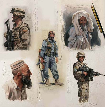 Sketches made by the artist in Afghanistan in August 2012. Bocetos Afganistan 2012.jpg