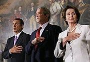 Pelosi (right) with House Minority Leader John Boehner (left) and President Bush (center), March 29, 2007