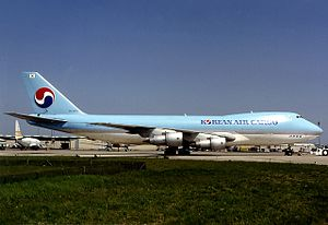 Korean Air Cargo Flight 8509 - The 747 involved in the accident stands at Paris Charles de Gaulle Airport in 1992.