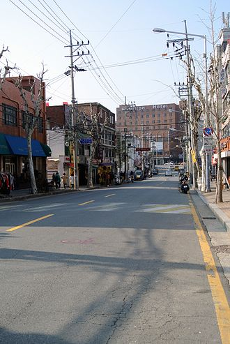 Yongsan District - Bogwang street and Hamilton Hotel in Itaewon
