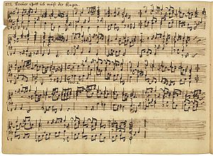 Georg Böhm - Autograph manuscript of Böhm's organ chorale partita Treüer Gott, ich muß dir klagen