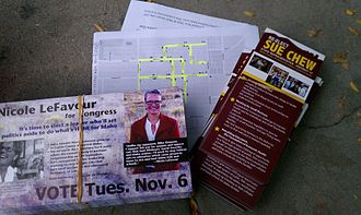 Get out the vote - Typical canvassing material for GOTV in the U.S.
