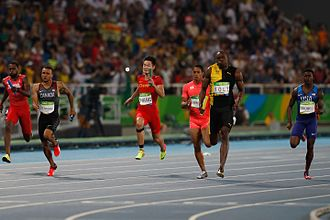 4 × 100 metres relay - The finish at the Rio 2016 Olympics.