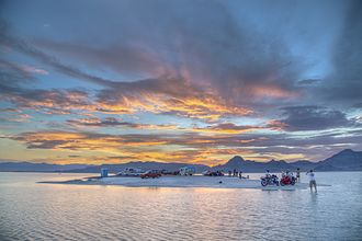 Bonneville Salt Flats - Campers at the Bonneville Salt Flats