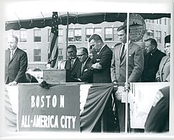 Ground breaking of new City Hall.Pictured: Governor Chub Peabody, Mayor John Collins, circa 1963-1965