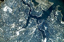Widok z lotu ptaka na okolicę Bostonu z kosmosu