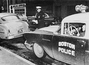 Boston Police Department - Investigating an abandoned stolen vehicle, 1958