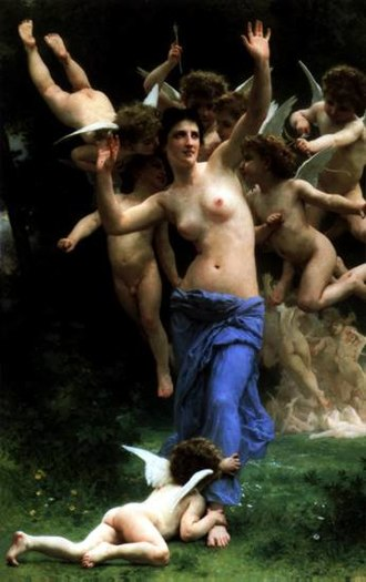 "Charles Yerkes - Bouguereau's 1892 painting ""Invading Cupid's Realm"", purchased after the Columbian Exposition of 1893"