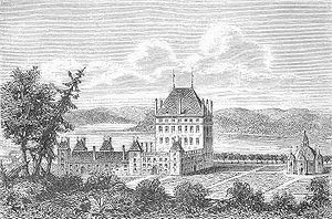 Bråborg Castle - Bråborg with its cross shaped chapel to the right, illustrated after the Suecia Antiqua et Hodierna.