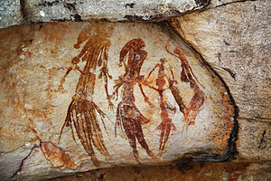 Bradshaw rock paintings - Tassel Bradshaw (Gwion Gwion) figures wearing ornate costumes